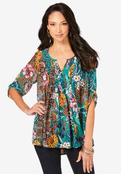 Tara Pleated Big Shirt, EMERALD PAISLEY GARDEN