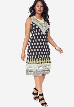Print A-Line Dress, TRIANGLE BORDER PRINT, hi-res