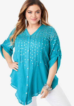 Glam-Embellished Maxi Tunic with Beading,