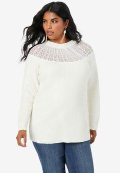 Lace-Yoke Crewneck Sweater,