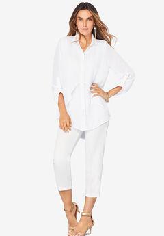 Georgette Overlay Big Shirt, WHITE