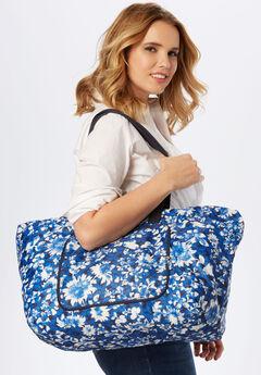 4-Piece Foldable Tote Bag Set, BLUE MULTI PRINT, hi-res