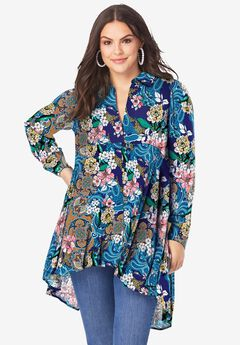 Fit-and-Flare Crinkle Tunic, NAVY PAISLEY GARDEN