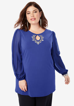 Rhinestone Keyhole Tunic with Embellishments, BLUEBERRY