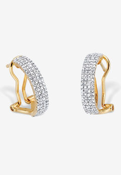 Yellow Gold-Plated Demi Hoop Earrings with Genuine Diamond Accents,