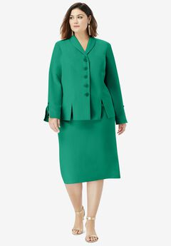 Two-Piece Skirt Suit with Shawl-Collar Jacket, MIDNIGHT VINE