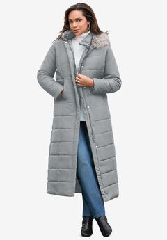 Maxi-Length Quilted Parka with Hood, GUNMETAL