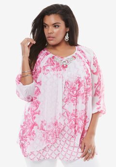 Embellished Print Top with Three-Quarter Sleeves, PASSION PINK PRINT, hi-res