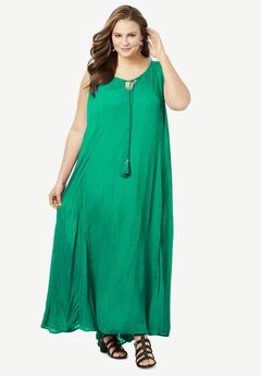 Crinkle A-Line Maxi Dress, TROPICAL EMERALD