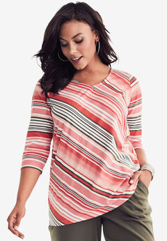 Diagonal Stripe Tee, CORAL MULTI STRIPE, hi-res