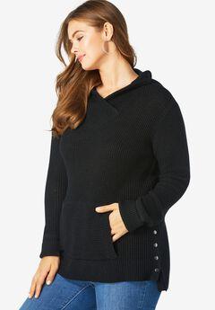 Thermal Hoodie Sweater, BLACK