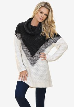 Ombre Pattern Sweater, IVORY BLACK