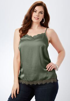 Lace-Trim Satin Cami,