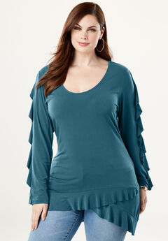 High-Low Ruffle Tunic,