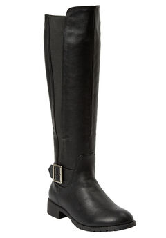 Milan Wide Calf Boot by Comfortview®, BLACK, hi-res