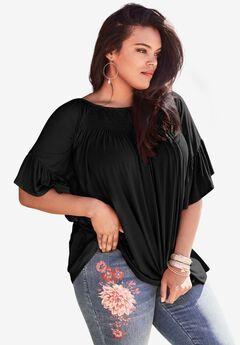 Bell-Sleeve Ultra Femme Tee, BLACK