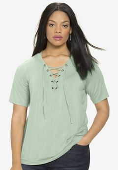 Lace-Up Drape Tee, ICE JADE, hi-res
