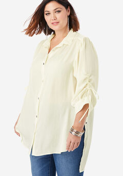 The Tie-Sleeve Tunic with High-Low Hem, IVORY