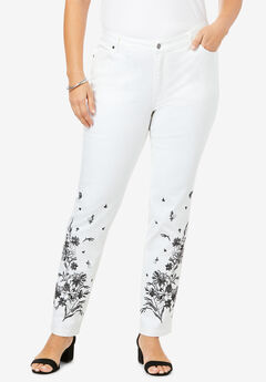 Floral Embroidered Straight-Leg Jean ,