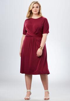 Twist Front Dress, DARK CHERRY, hi-res