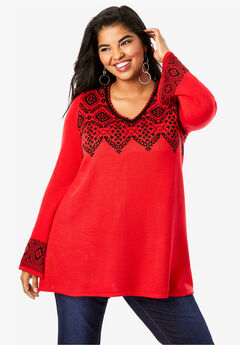 Fit-And-Flare Tunic Sweater, RED BLACK FAIR ISLE