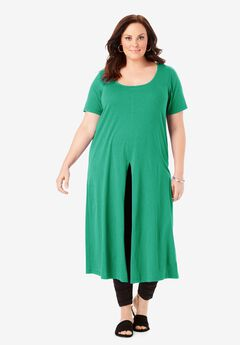 Short-Sleeve Front-Slit Ultra Tunic,