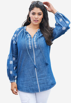 Cotton Embroidered Tunic with Poet Sleeves, INDIGO WHITE, hi-res