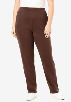 Straight-Leg Soft Knit Pant, RICH BROWN