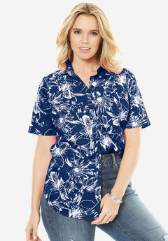 Kate Short-Sleeve Shirt, EVENING BLUE FLORAL, hi-res