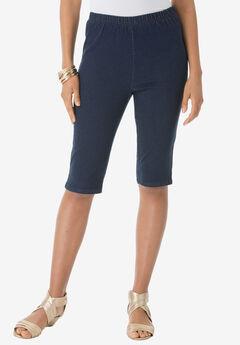 Pull-On Stretch Bermuda Jean Short, INDIGO WASH