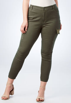 Glam Skinny Cargo Pant, DEEP OLIVE