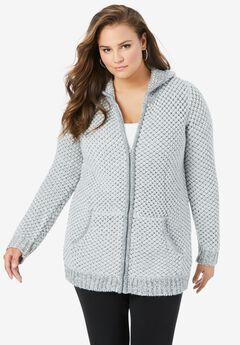 Tweed Thermal Hoodie Cardigan, PEARL GREY DARK CHARCOAL