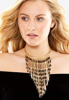 Beaded Cascade Necklace, GOLD, hi-res