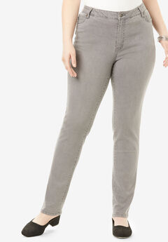 Straight-Leg Jean with Invisible Stretch® by Denim 24/7®, GREY WASH