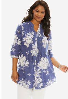 English Floral Tunic with Pintucks, BLUE PRINT, hi-res