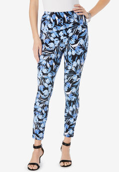 Ankle-Length Essential Stretch Legging, NAVY WATERCOLOR TULIP