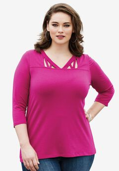 The Runway Lattice Tee with Three-Quarter Sleeves, RASPBERRY, hi-res