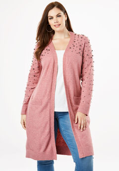 Long Cardigan with Pearl Embellishments, DUSTY ROSE