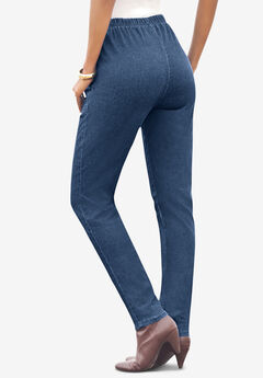 Straight-Leg Pull-On Stretch Jean by Denim 24/7®, MEDIUM STONEWASH SANDED