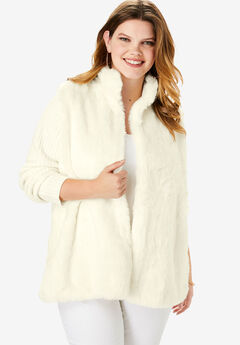 Ribbed Cardigan with Faux Fur Front, IVORY