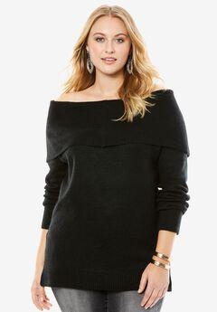 Off-The-Shoulder Sweater, BLACK, hi-res