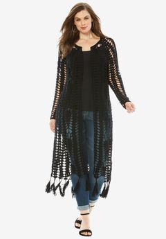 Long Crochet Cardigan with Fringe, BLACK, hi-res