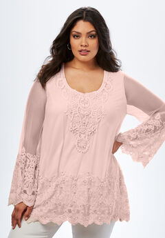 Mesh Embellished Maxi Tunic, PALE BLUSH