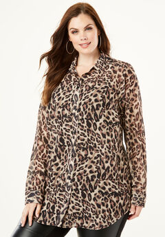 Georgette Tunic, BROWN LEOPARD PRINT