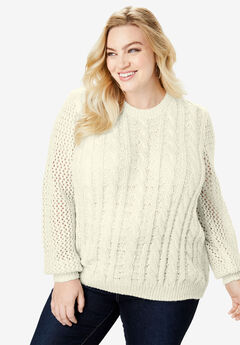 Metallic Cable-Knit Sweater, IVORY