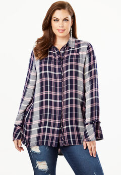 29d564a4dcb7e Ruffle Plaid Tunic with Bell Sleeves