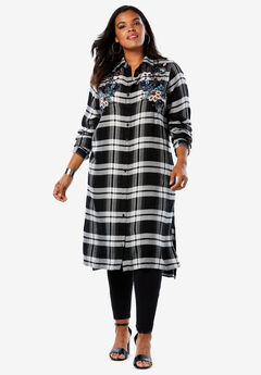 Button-Front Ultra Tunic, BLACK IVORY PLAID