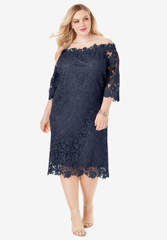 Off-The-Shoulder Lace Dress with Bell Sleeves,