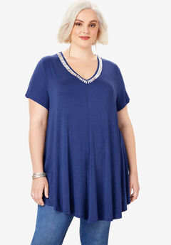 Swing Drape Tunic, ULTRA BLUE BEADING