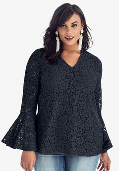 Lace Bell-Sleeve Blouse, NAVY, hi-res
